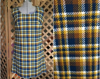 Vintage Womens 1960s Plaid Mod Mini Dress Handmade Retro Medium Mad Men Twiggy Style