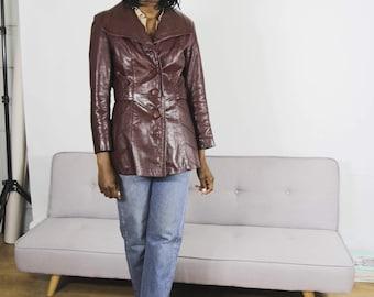 70s Burgundy Leather Jacket