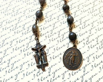 Wire Wrapped Tenner Rosary - Pocket Rosary - Job's Tears Rosary - Pocket Rosary