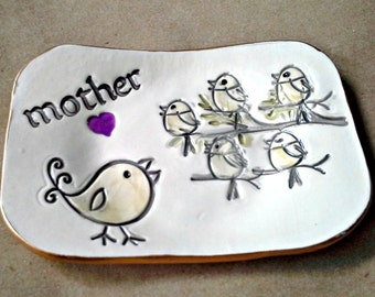 MOTHER Trinket  Dish 5 Birdies edged in gold  Mothers Day Gift