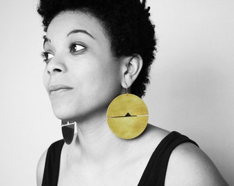 Statement geometric earrings gold large disc bold african creole hoop big oversized huge circle chunky brass jewelry round -Megan Earrings