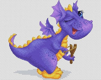 Cross stitch pattern - Cute dragon