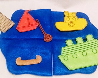 Boat felt flannel board set includes 10 pieces great for quiet books or busy bags #3890