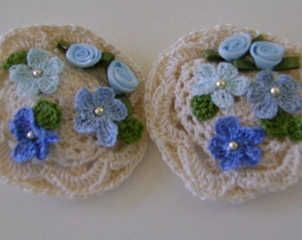 Barrettes 1 1/2 Inch is Decorated with a Cream Crocheted Motif, Blue Ribbon and Crocheted Small Forget Me Nots/Leaves and Pearl Centers
