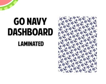 GO NAVY  Laminated Dashboard for Traveler's Notebook | .3mil | DB064