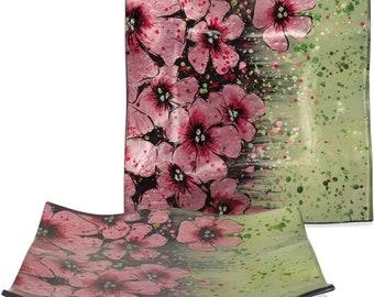 "Handcrafted Art Glass Plate - Cozenza Glassware - Cherry Blossom Plate - 8"" Square"