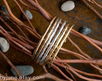 Single Raw Cuff | Sterling Silver or Bronze Cuff | Stacking Bracelets