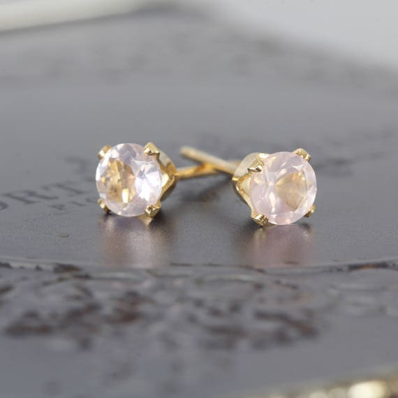 Rose Quartz Studs - Dainty Stud Earrings