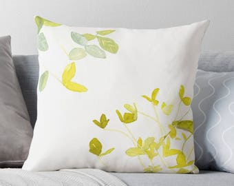 Wild Leaves, Pillow, Leaves Pillow, Floral, Throw Pillow, Decorative Pillow, Pillow with Insert, Nature, Watercolor Leaves, Home Decor, Gift
