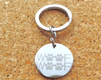 "Keyring   ""Woof Woof""""   Stainless Steel Key Chain. Can be personalised and engraved."
