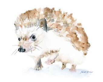 Hedgehog Watercolor Painting Giclee Reproduction - 6 x 4 in -- Nursery Art  -- Fine Art Print