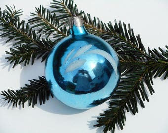 Christmas balls vintage ornament large blue ball winter decor mercury glass ornament tree decoration Christmas bauble hand painted xmas toy