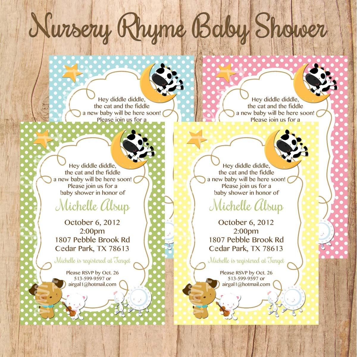 Nursery rhyme baby shower or birthday invitation u print zoom filmwisefo