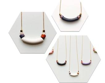 Curved Ceramic Pendant Necklace