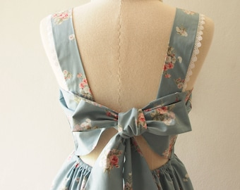 FLORAL DRESS Fairy Wing Floral Bridal Dress Floral Wedding Gown Grayish Blue Cotton Print Back Bow Low Back Dress Vintage Summer Style -XS