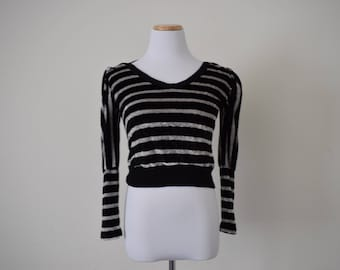 FREE usa SHIPPING velvet striped/ vintage blouse/ long sleeve/ scoop neck/ bohemian top/ festival/ black retro acrylic size S