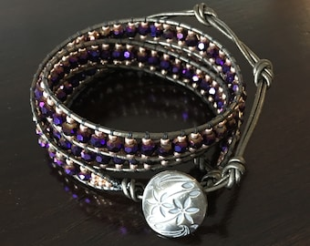 Amethyst and Galvanized Peach 3 Wrap Bracelet