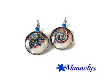 Earrings sleepers patterns fuchsia and blue Paisley, paisley, glass cabochons
