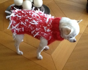 Coat... sweater... Pink and white wool little dog chihuahua 1 kg 500 and 2kg 00