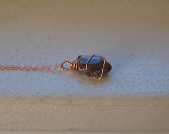 Raw Smokey Quartz Necklace, Smokey Quartz Pendant Rose Gold Raw Quartz Necklace Rose Gold Raw Crystal Point Necklace Gift, Sagittarius Stone