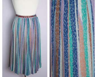Vintage 1970's/80's Stripe Pleated Midi Skirt S/M