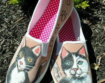 Hand Painted Cat Shoes-Slip On Shoes-Vans-Tuxedo Cat-Black and