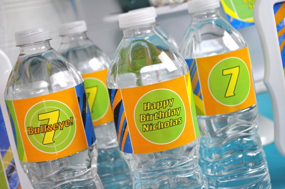 Blaster Gun Party Water Bottle Labels Laser Tag Birthday