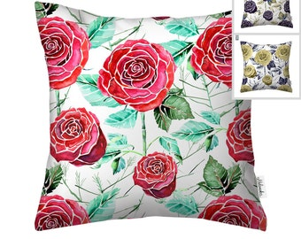 SALE Roses pillowcase by original design, floral cushion cover in red, black and golden over white, 18x18' (45x45 cm), 20x20' (50x50 cm)