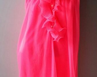 Vintage Pink Nylon Chiffon  Nightgown