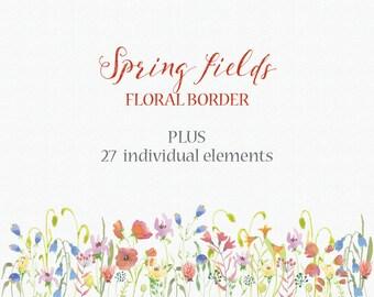 Watercolor floral clip art: border of spring flowers plus elements - wedding clip art; hand painted - digital download