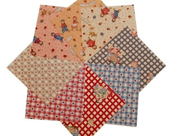 "Quilt Charm Pack 40 5x5"" Assorted Pre-Cut Heart Bess and Billy pattern 100% Cotton"