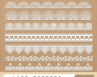 """Lace border clipart: """"LACE BORDERS"""" clipart pack with digital lace border for scrapbooking, invites, card making"""