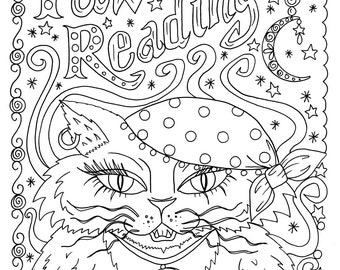 Instant Download Paw Readings Halloween Cat Art Coloring Pages Coloring Book Adult Art/digi/digital