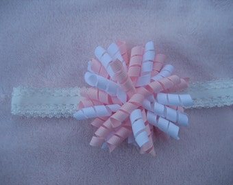 Newborn to 1 Year Light Pink and White KORKER Hair Bow on a 3/4 inch White LACE Headband