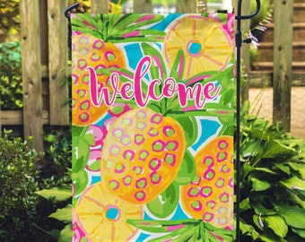 Charmant Quick View. Preppy Pineapple Personalized Garden Flag ...