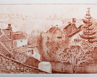 Frenchay Village - Original Drypoint Print