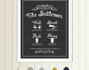 Guide To Procedures The Bathroom Print Bathroom Rules