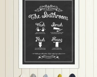 Merveilleux Guide To Procedures: The Bathroom   11x14 Print   Bathroom, Rules, Sign,  Vintage, Decor, Art, Wall, Wash, Brush, Flush, Hang