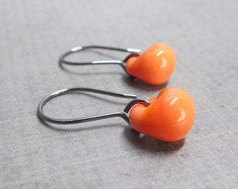 Gerbera Orange Drop Earrings Oxidized Silver, Orange Earrings, Lampwork Earrings Orange Glass, Small Dangle Earrings, Glass Drop Earrings