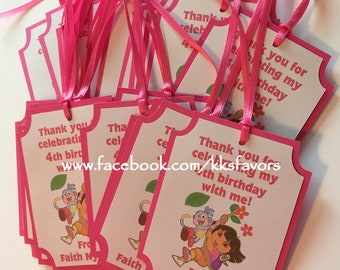 Dora Explorer Favor Tags / Swiper/ Boots / Backpack Favor Tags - Set of 12
