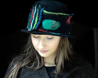Boater for women, Black felt hat, Felted hat, Wool Hat, Modern design, unique felt hat