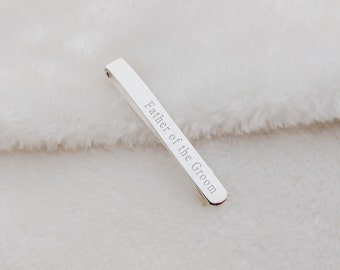 Wedding Tie Clip, Sterling Silver Father Of the Groom Tie Bar Clip,Personalized Monogram Tie Clip,Groomsmen Tie Tack,Silver Tie Clip