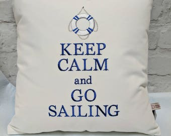 Handmade Sailing Cushion Keep Calm and Go Sailing 38cm square cushion with cushion inner, machine embroidered on canvas. Blue striped back
