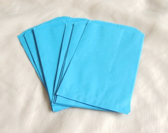 100 5x7 inch Blue Paper Bags, Sky Blue Paper Party Bags, Colored Paper Merchandise Bags, Gift Bags, Wedding Bags, Bridal Bags, Craft Bags