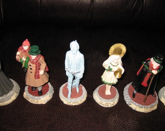 1993 SUSAN SAFIRE NOVELINO Inc 6 Christmas Figurines Scrooge Christmas Past Present Future Ghost Jacob Marley Tiny Tim Bob Cratchit