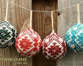 Hand Knit Fair Isle 3 Strand Kilim Design Christmas Ornament