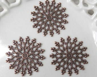 Ten (10) Antiqued Copper 32mm Large Fancy Filigree Snowflake Charms Components Findings