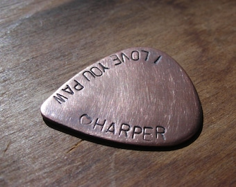 FATHERS DAY GUITAR Pick--Handstamped Copper-Great Gift for Fathers Day, Husband, Boyfriend, Dad, Groomsmen