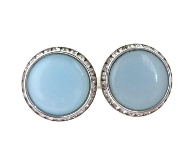 Blue Moonglow Earrings, Vintage Lisner Earrings, Rhinestone Earrings, Baby Blue Clip on Earrings, Silvertone Earrings, Gift for Her