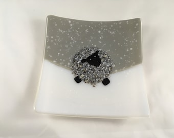 Fused glass black faced snowy sheep dish